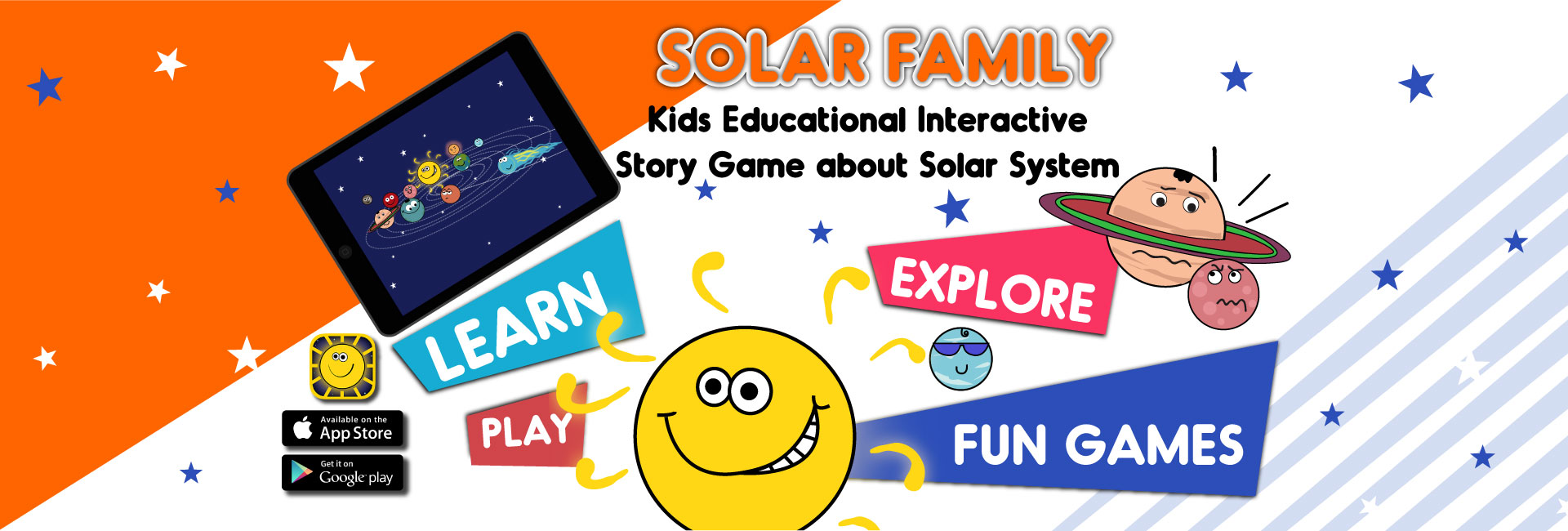 solar system educational app slider